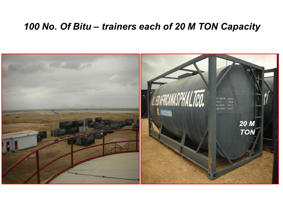 100 No. Of Bitu – trainers each of 20 M TON Capacity +249 155 18 18 25 20 M TON