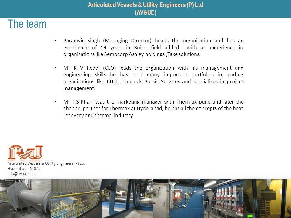Articulated Vessels & Utility Engineers (P) Ltd Hyderabad, INDIA. info@av-ue.com The team Paramvir Singh (Managing Director) heads the organization an