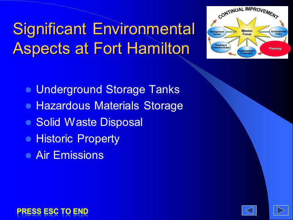 Significant Environmental Aspects at Fort Hamilton Underground Storage Tanks Hazardous Materials Storage Solid Waste Disposal Historic Property Air Em