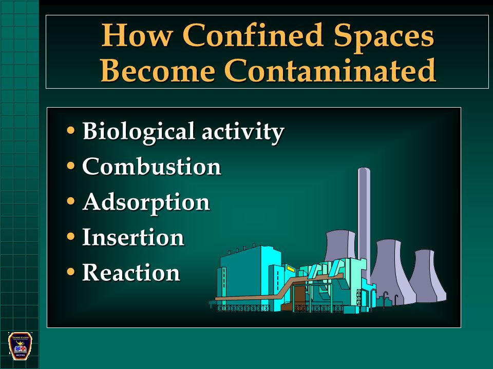 How Confined Spaces Become Contaminated Biological activity Biological activity Combustion Combustion Adsorption Adsorption Insertion Insertion Reaction Reaction