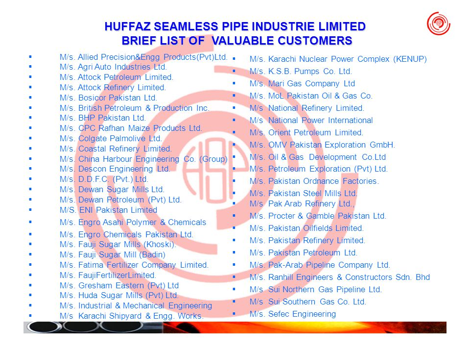 HUFFAZ SEAMLESS PIPE INDUSTRIE LIMITED BRIEF LIST OF VALUABLE CUSTOMERS M/s. Allied Precision&Engg Products(Pvt)Ltd. M/s. Agri Auto Industries Ltd. M/
