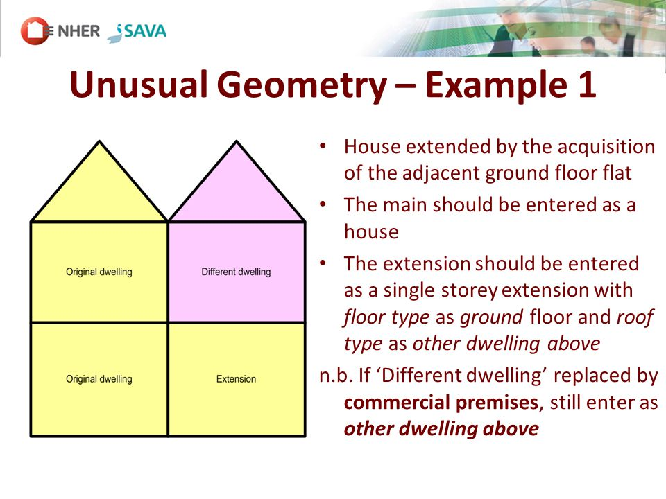 Unusual Geometry – Example 1 House extended by the acquisition of the adjacent ground floor flat The main should be entered as a house The extension should be entered as a single storey extension with floor type as ground floor and roof type as other dwelling above n.b.