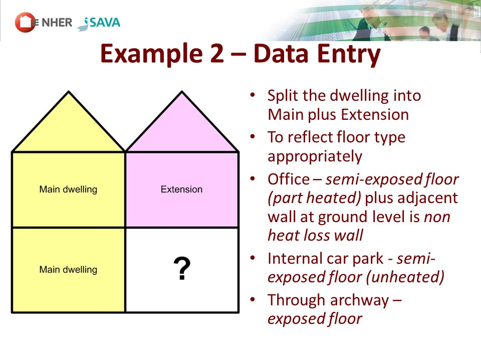 Example 2 – Data Entry Split the dwelling into Main plus Extension To reflect floor type appropriately Office – semi-exposed floor (part heated) plus adjacent wall at ground level is non heat loss wall Internal car park - semi- exposed floor (unheated) Through archway – exposed floor