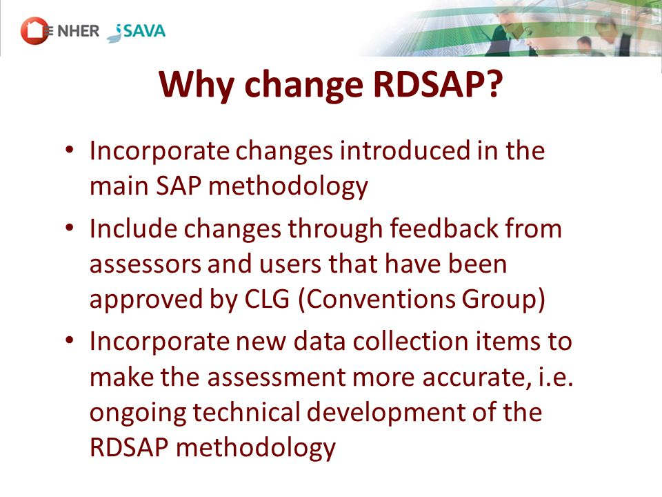 SAP 2009 – EI Rating Absolute values of CO 2 emissions affect the rating, rather than proportional changes Electricity is the main loser due to a large absolute value and a significant change in assumed emissions All electric dwellings will be affected