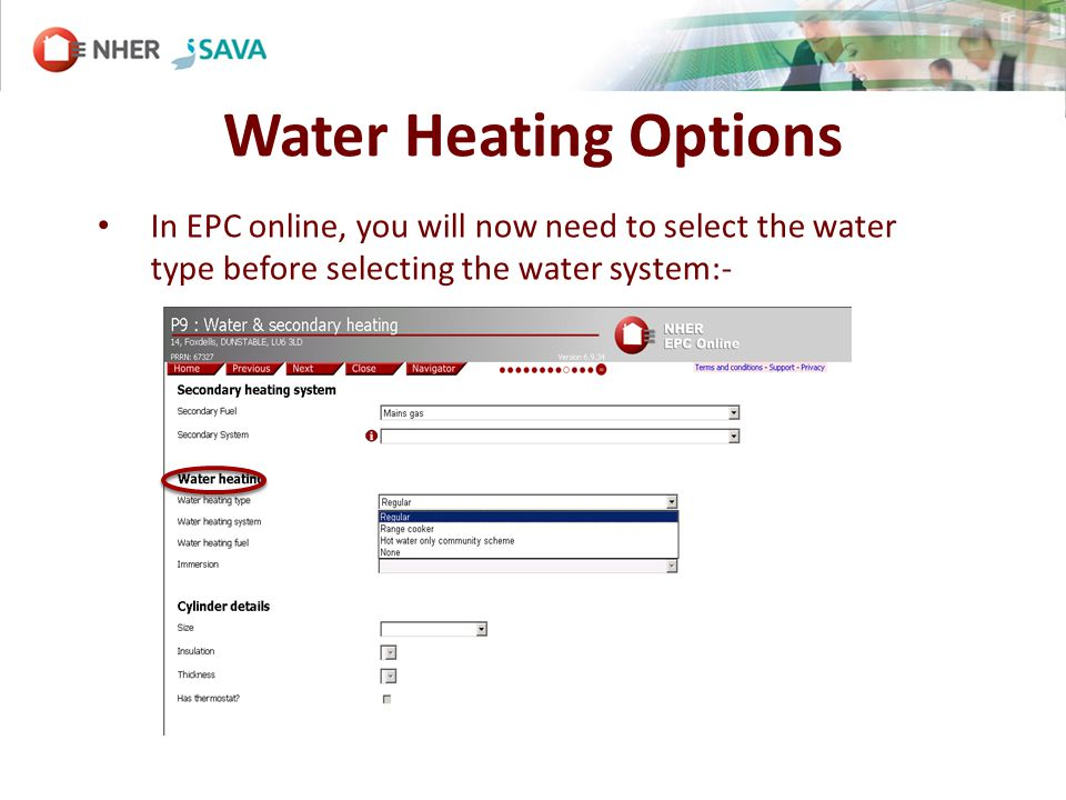 Water Heating Options In EPC online, you will now need to select the water type before selecting the water system:-