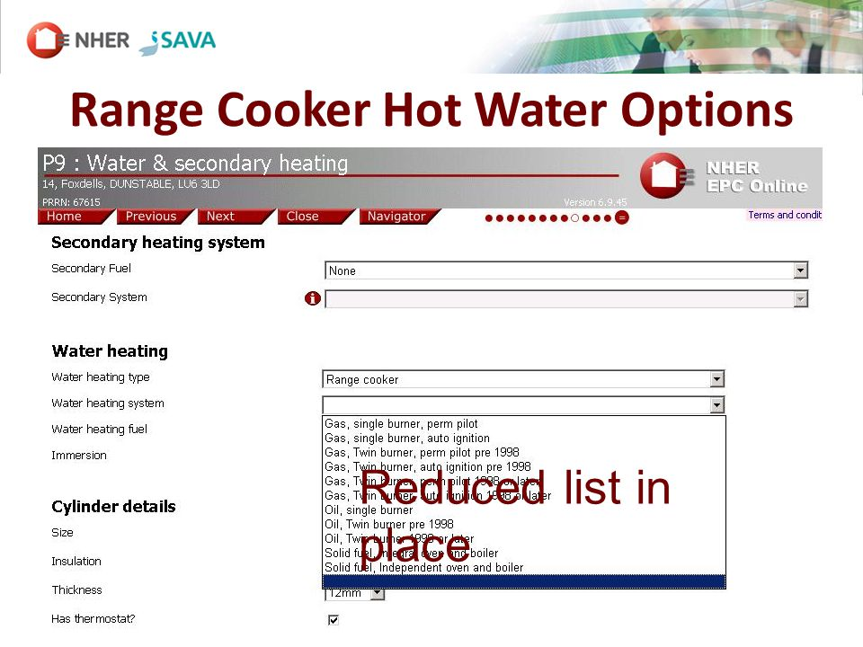 Range Cooker Hot Water Options SCREENSHOT Reduced list in place
