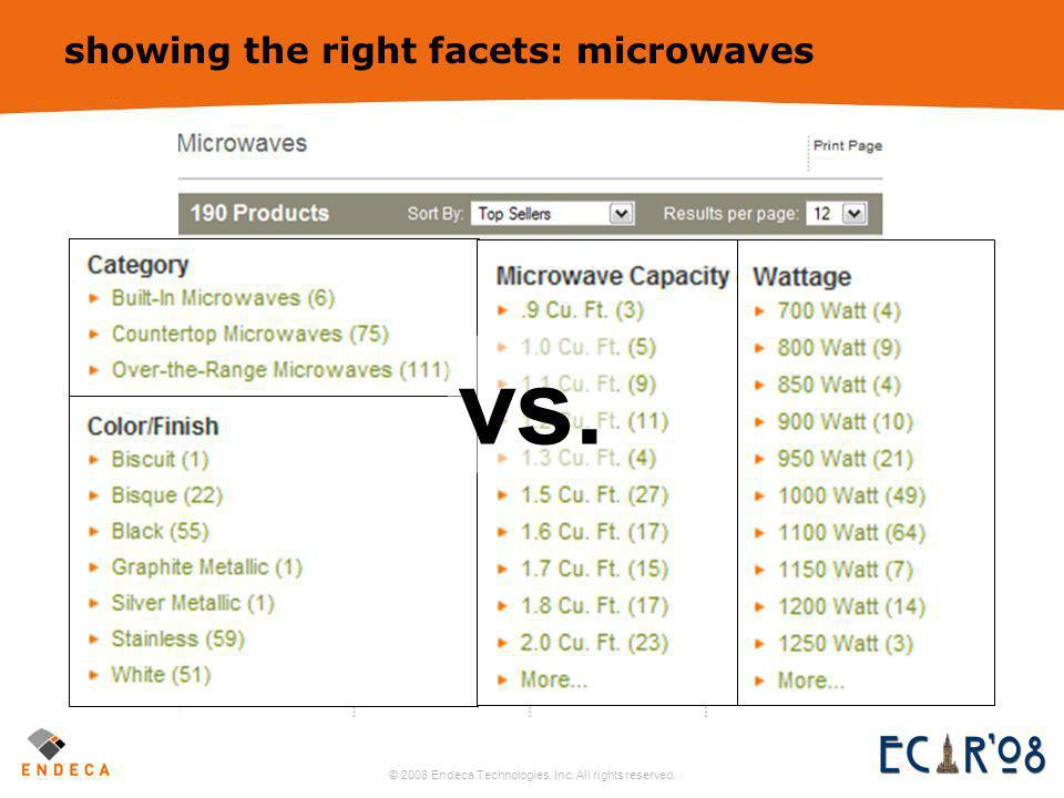 © 2008 Endeca Technologies, Inc. All rights reserved. 18 showing the right facets: microwaves vs.