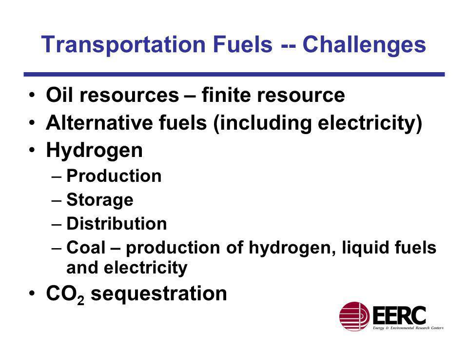 Transportation Fuels -- Challenges Oil resources – finite resource Alternative fuels (including electricity) Hydrogen –Production –Storage –Distributi