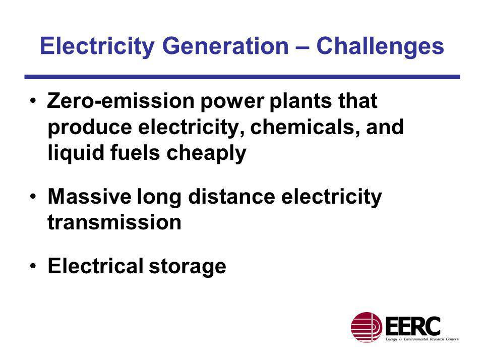 Electricity Generation – Challenges Zero-emission power plants that produce electricity, chemicals, and liquid fuels cheaply Massive long distance ele
