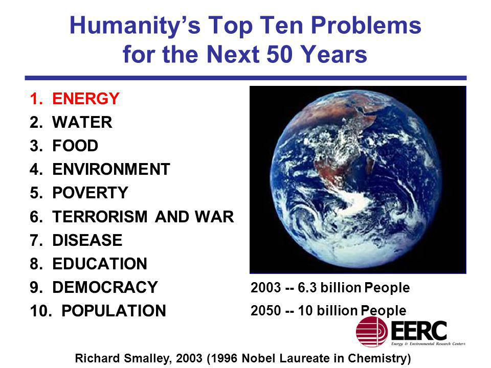 Humanitys Top Ten Problems for the Next 50 Years 1. ENERGY 2. WATER 3. FOOD 4. ENVIRONMENT 5. POVERTY 6. TERRORISM AND WAR 7. DISEASE 8. EDUCATION 9.