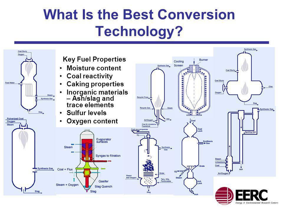 What Is the Best Conversion Technology? Key Fuel Properties Moisture content Coal reactivity Caking properties Inorganic materials – Ash/slag and trac