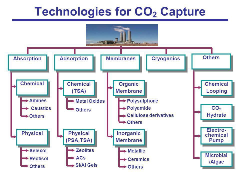 Chemical Looping CO 2 Hydrate Microbial /Algae Microbial /Algae Electro- chemical Pump Electro- chemical Pump Others Chemical (TSA) Chemical (TSA) Zeo