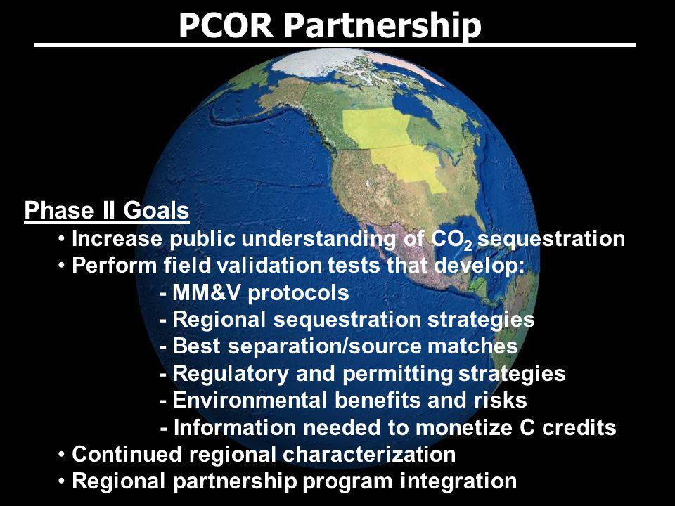 Phase II Goals Increase public understanding of CO 2 sequestration Perform field validation tests that develop: - MM&V protocols - Regional sequestrat