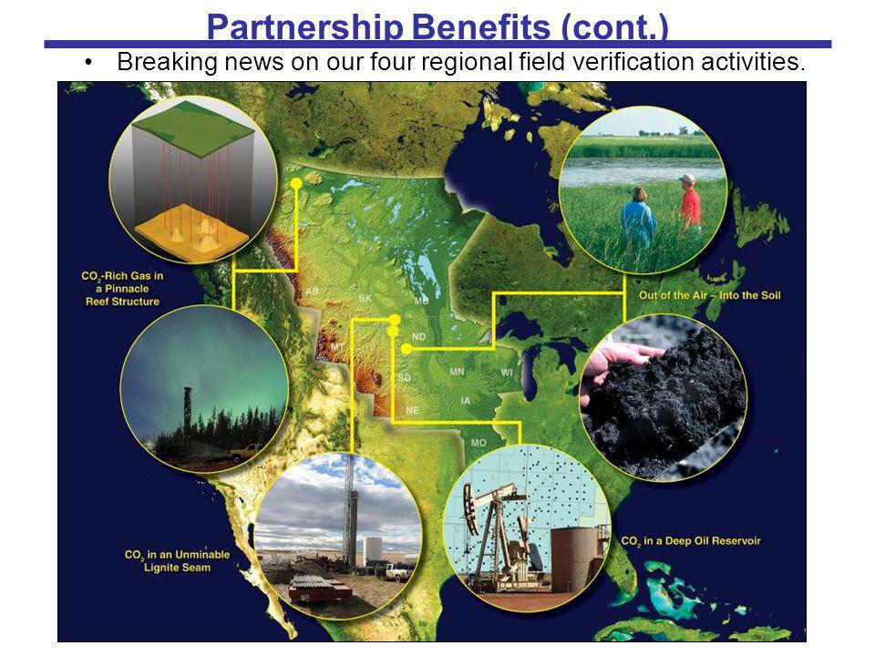 Partnership Benefits (cont.) Breaking news on our four regional field verification activities.