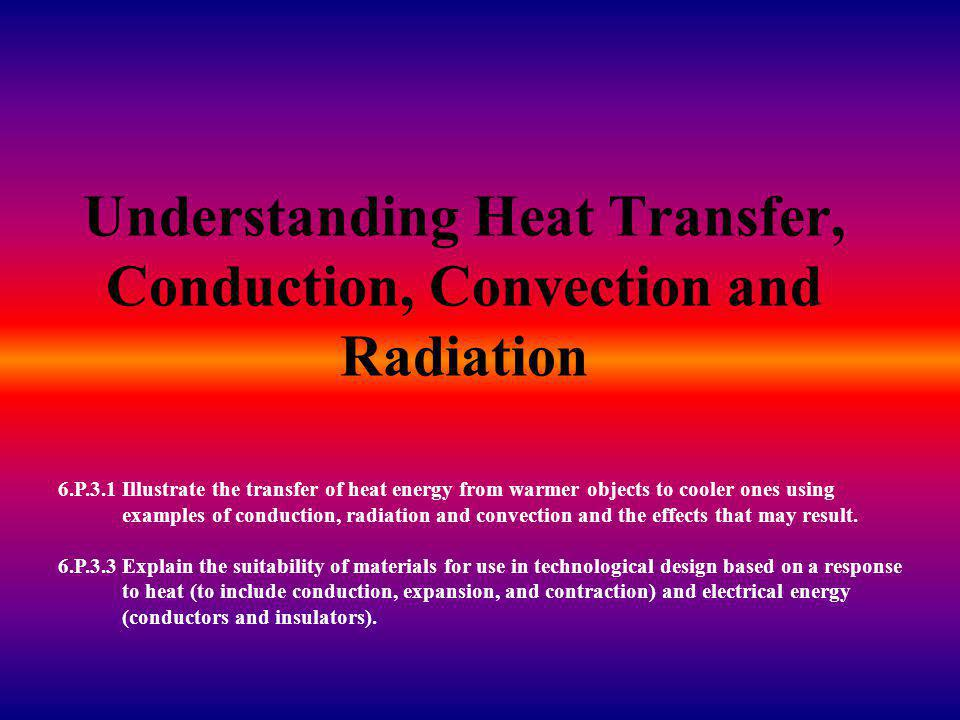 Understanding Heat Transfer, Conduction, Convection and Radiation 6.P.3.1 Illustrate the transfer of heat energy from warmer objects to cooler ones using examples of conduction, radiation and convection and the effects that may result.