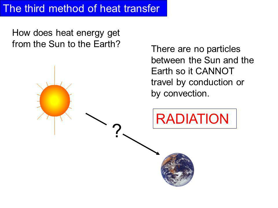 The third method of heat transfer How does heat energy get from the Sun to the Earth.
