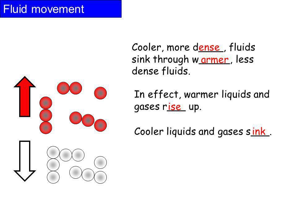 Fluid movement Cooler, more d____, fluids sink through w_____, less dense fluids. In effect, warmer liquids and gases r___ up. Cooler liquids and gase