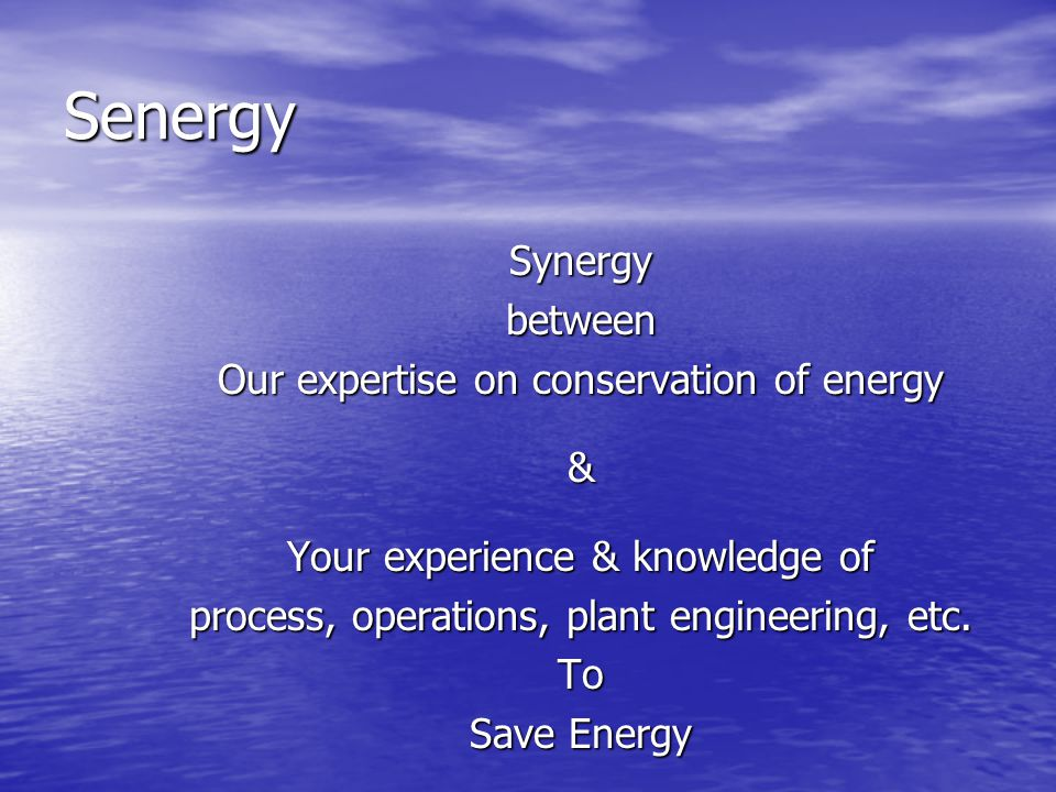 Senergy Synergybetween Our expertise on conservation of energy & Your experience & knowledge of process, operations, plant engineering, etc. To Save E