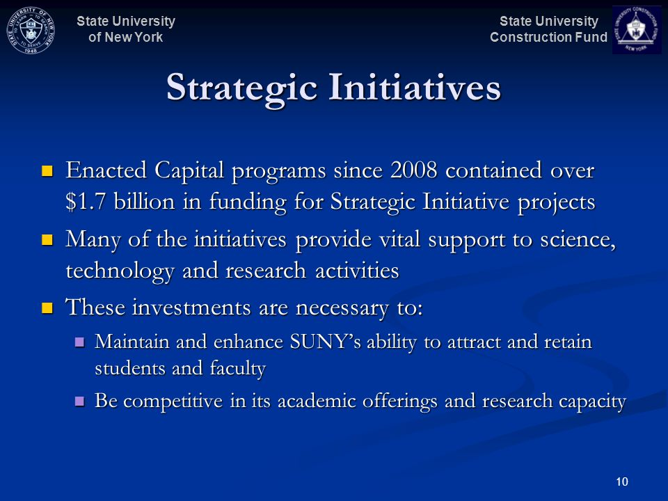 State University Construction Fund State University of New York 10 Strategic Initiatives Enacted Capital programs since 2008 contained over $1.7 billion in funding for Strategic Initiative projects Enacted Capital programs since 2008 contained over $1.7 billion in funding for Strategic Initiative projects Many of the initiatives provide vital support to science, technology and research activities Many of the initiatives provide vital support to science, technology and research activities These investments are necessary to: These investments are necessary to: Maintain and enhance SUNYs ability to attract and retain students and faculty Maintain and enhance SUNYs ability to attract and retain students and faculty Be competitive in its academic offerings and research capacity Be competitive in its academic offerings and research capacity