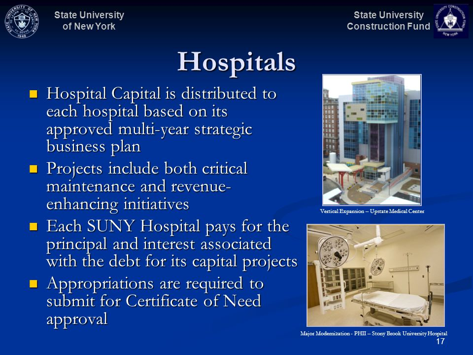 State University Construction Fund State University of New York 17 Hospitals Hospital Capital is distributed to each hospital based on its approved mu