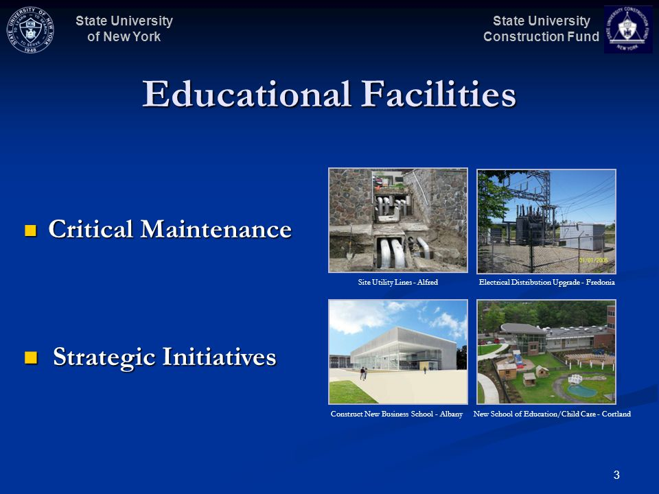 State University Construction Fund State University of New York 3 Educational Facilities Critical Maintenance Critical Maintenance Strategic Initiativ