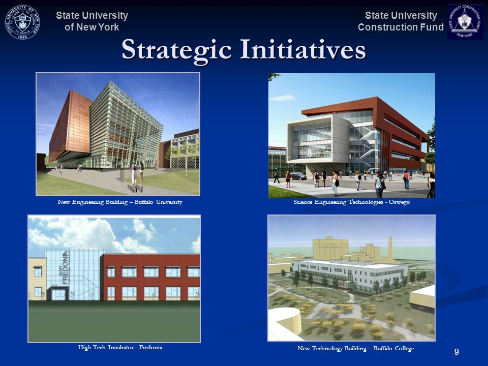 State University Construction Fund State University of New York 9 Strategic Initiatives High Tech Incubator - Fredonia Science Engineering Technologies - Oswego New Technology Building – Buffalo College New Engineering Building – Buffalo University