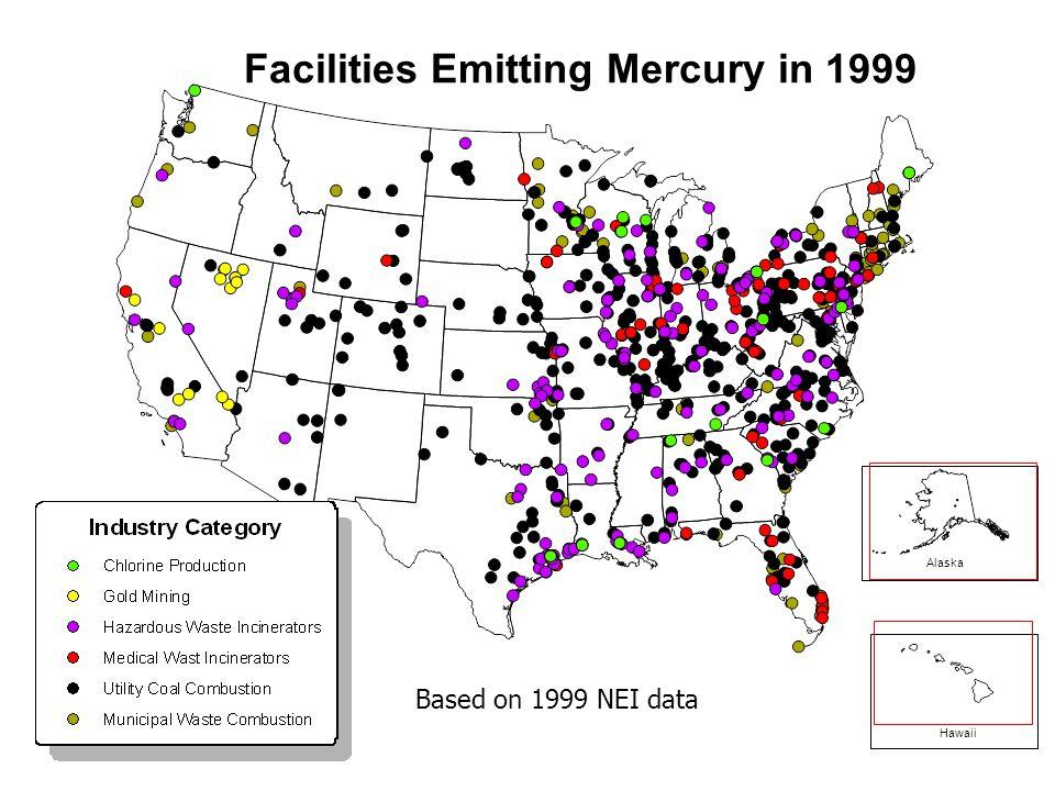 Alaska Hawaii Facilities Emitting Mercury in 1999 Based on 1999 NEI data