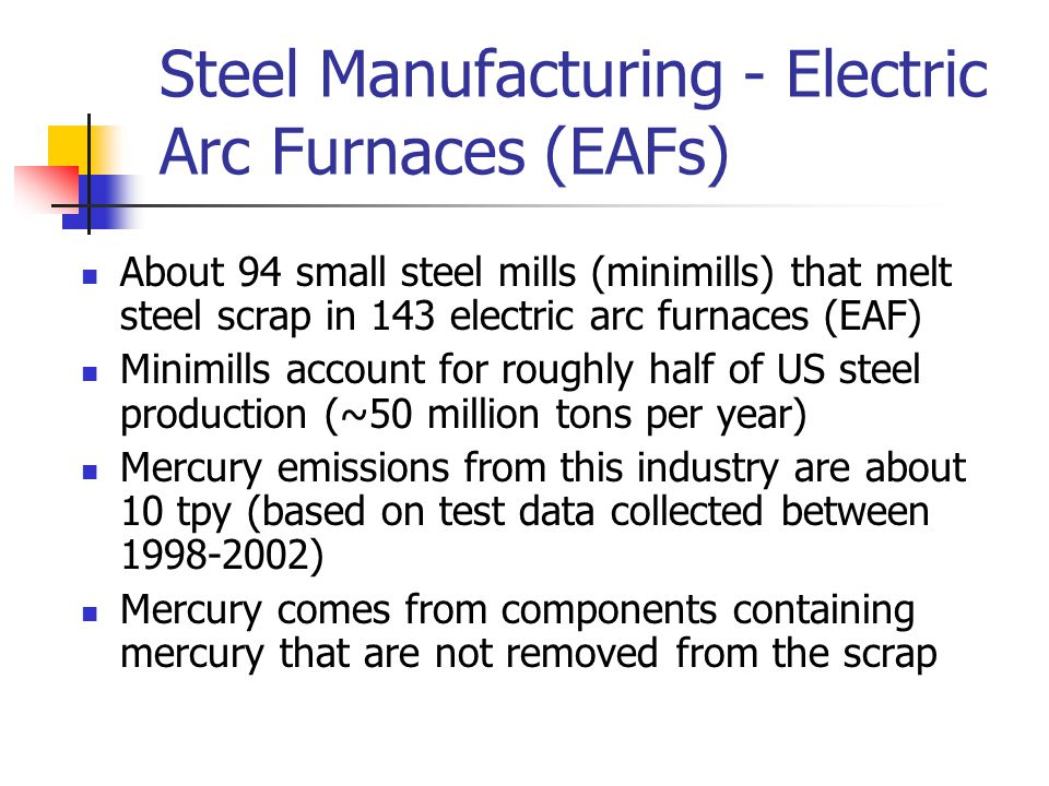 Steel Manufacturing - Electric Arc Furnaces (EAFs) About 94 small steel mills (minimills) that melt steel scrap in 143 electric arc furnaces (EAF) Minimills account for roughly half of US steel production (~50 million tons per year) Mercury emissions from this industry are about 10 tpy (based on test data collected between 1998-2002) Mercury comes from components containing mercury that are not removed from the scrap