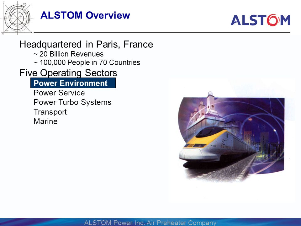 ALSTOM Power Inc. Air Preheater Company Headquartered in Paris, France ~ 20 Billion Revenues ~ 100,000 People in 70 Countries Five Operating Sectors P