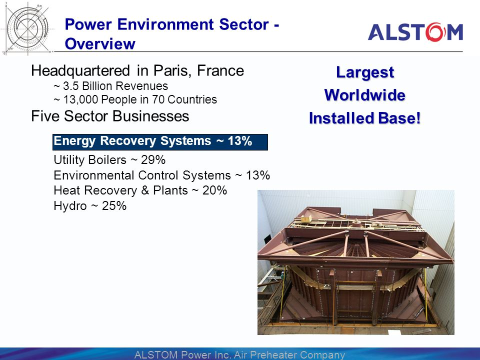ALSTOM Power Inc. Air Preheater Company Headquartered in Paris, France ~ 3.5 Billion Revenues ~ 13,000 People in 70 Countries Five Sector Businesses E