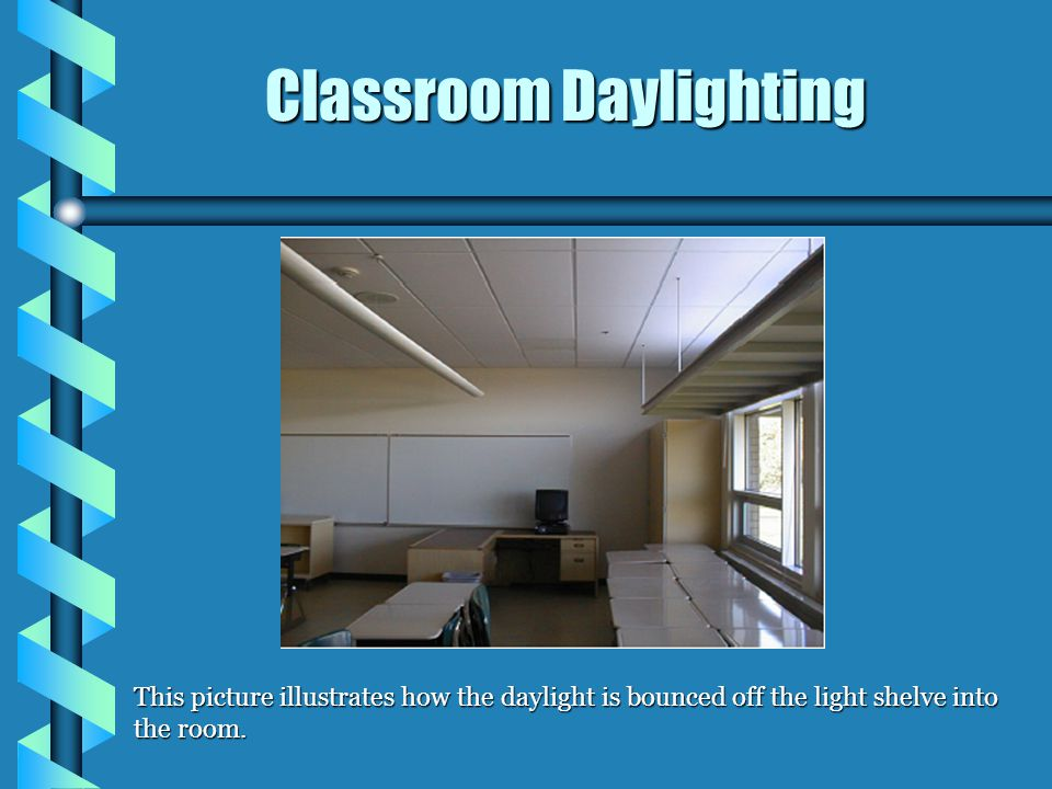 This picture illustrates how the daylight is bounced off the light shelve into the room.