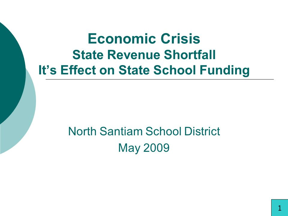 Economic Crisis State Revenue Shortfall Its Effect on State School Funding North Santiam School District May 2009 1