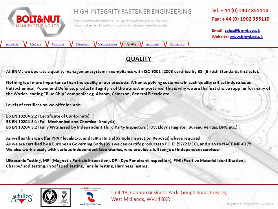 About UsMarketsProductsMaterialsManufacturingQualityApprovalsContact Us HIGH INTEGRITY FASTENER ENGINEERING Manufacturers and suppliers of high qualit