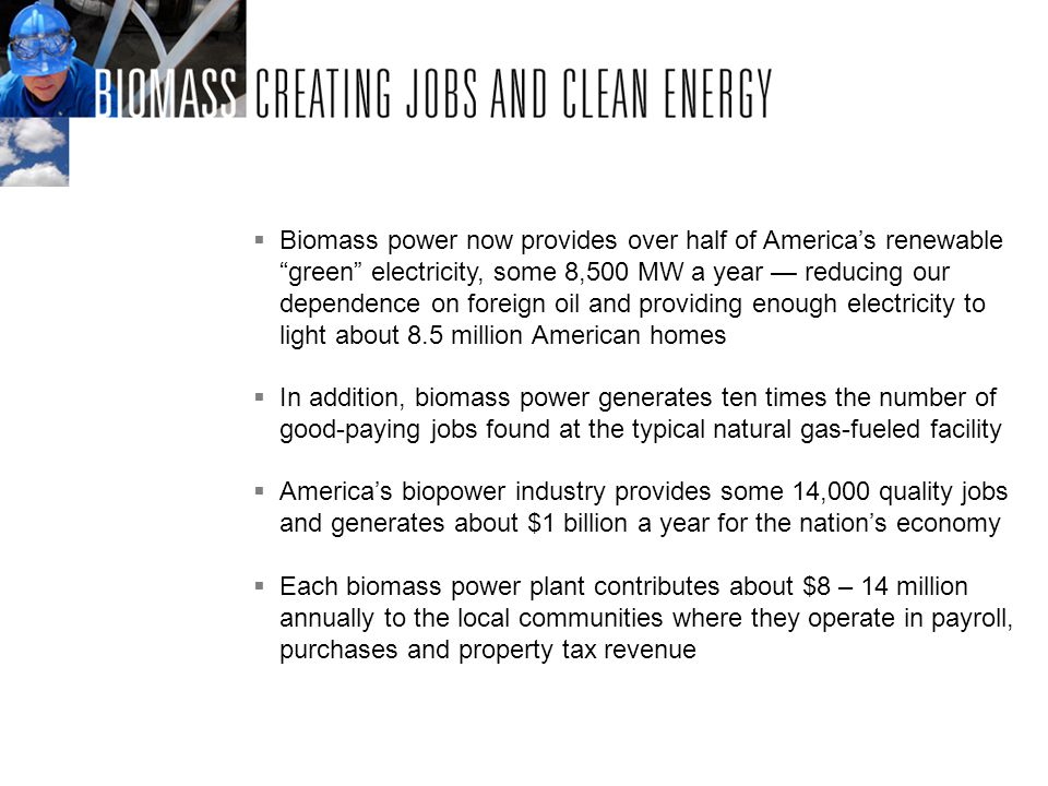 Biomass power now provides over half of Americas renewablegreen electricity, some 8,500 MW a year reducing our dependence on foreign oil and providing enough electricity to light about 8.5 million American homes In addition, biomass power generates ten times the number of good-paying jobs found at the typical natural gas-fueled facility Americas biopower industry provides some 14,000 quality jobs and generates about $1 billion a year for the nations economy Each biomass power plant contributes about $8 – 14 million annually to the local communities where they operate in payroll, purchases and property tax revenue