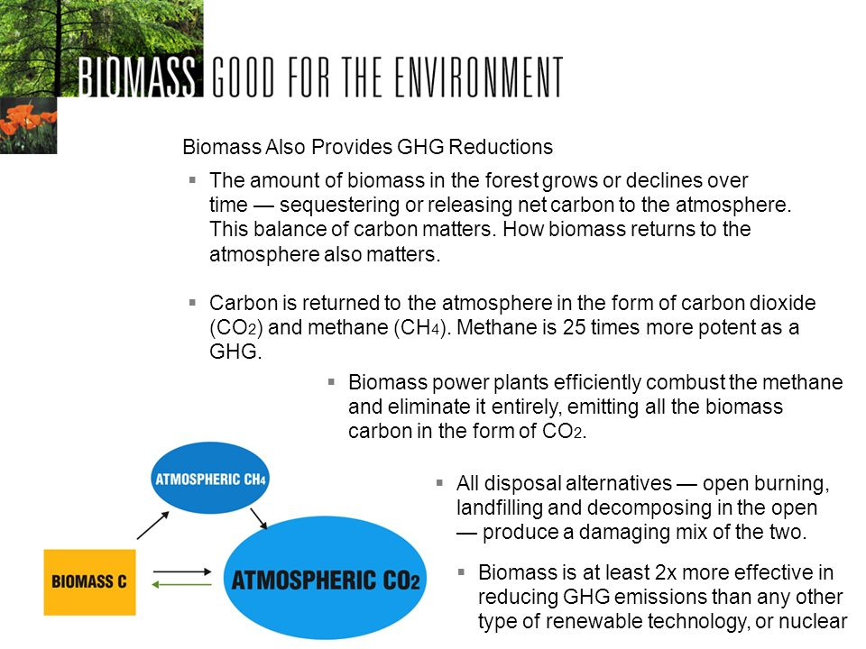 Biomass is at least 2x more effective in reducing GHG emissions than any other type of renewable technology, or nuclear Biomass Also Provides GHG Reductions Biomass power plants efficiently combust the methane and eliminate it entirely, emitting all the biomass carbon in the form of CO 2.