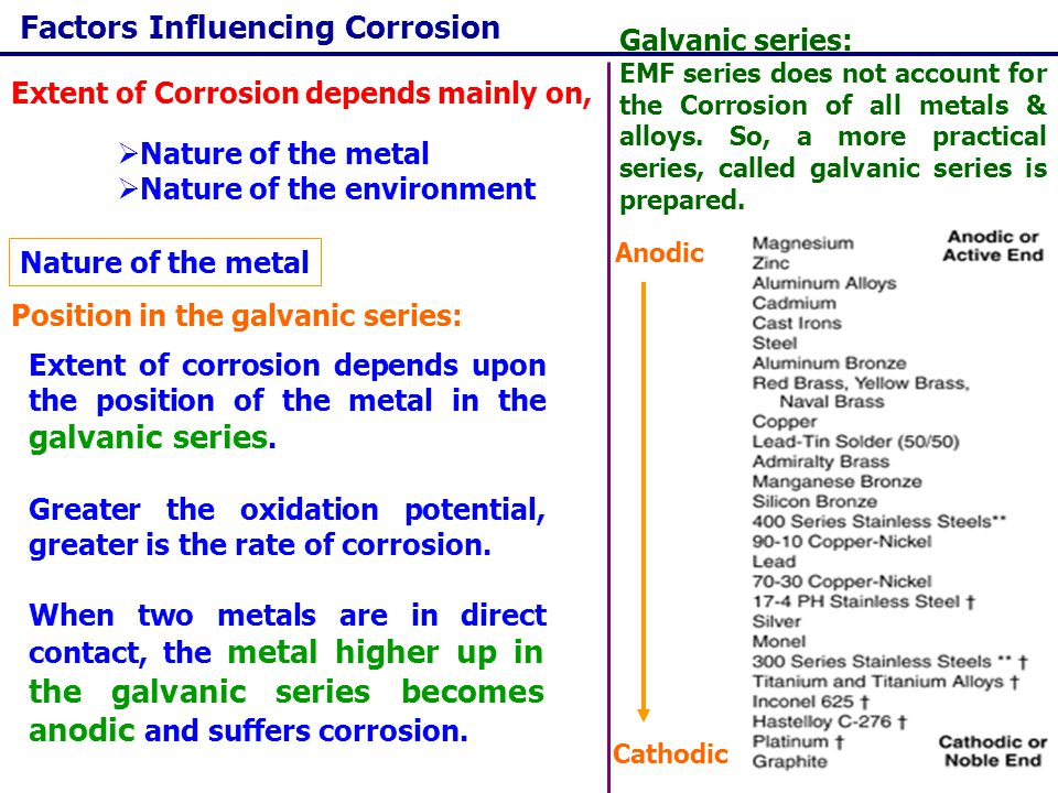 Factors Influencing Corrosion Rate of corrosion is more if the size of cathodic area is large Relative areas of the anode and cathode: If cathodic area is larger, the demand for electrons will be more and this results in the increase of rate of oxidation of metal at anode.