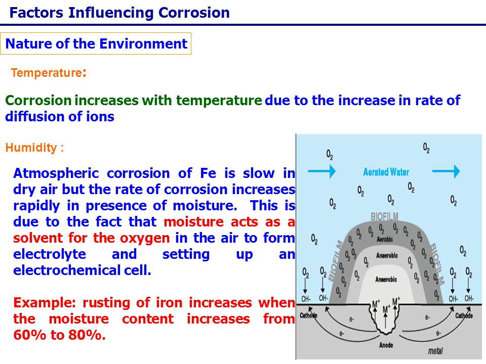 Corrosion Control Important Design Principles: The design should provide easy cleaning and flushing of the corner and bends in the metallic equipment.