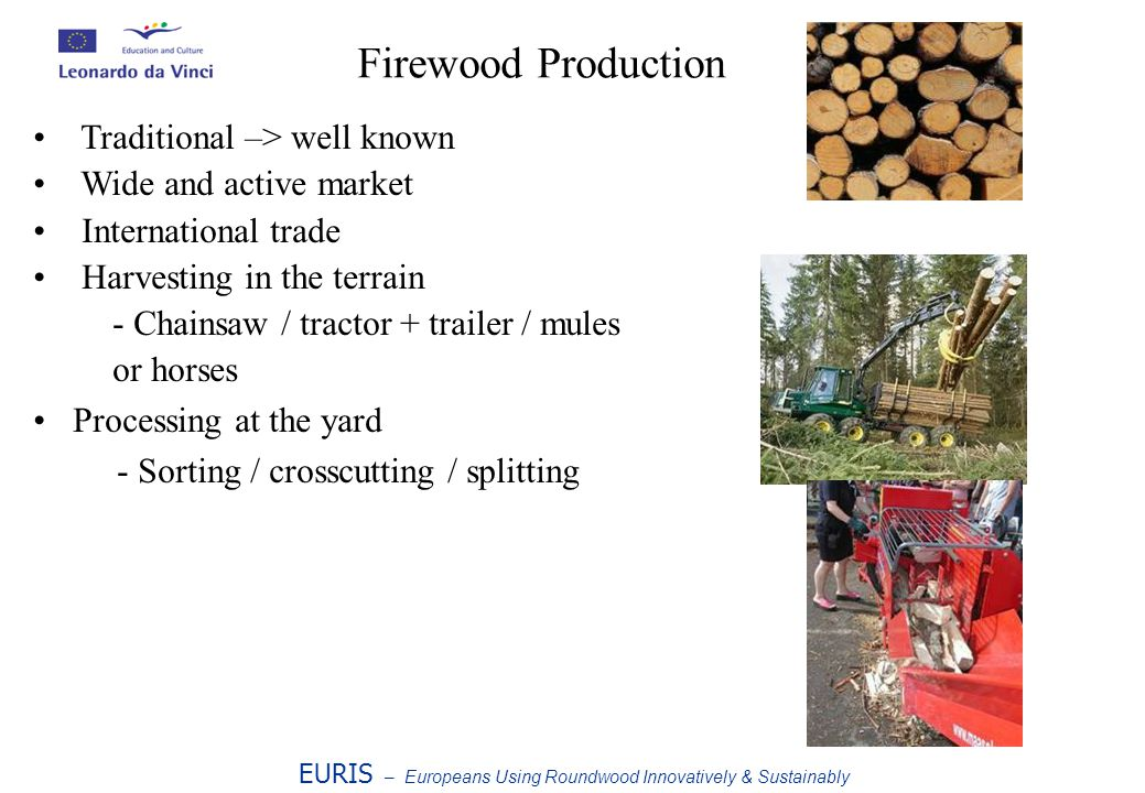 Firewood Production EURIS – Europeans Using Roundwood Innovatively & Sustainably Traditional –> well known Wide and active market International trade Harvesting in the terrain - Chainsaw / tractor + trailer / mules or horses Processing at the yard - Sorting / crosscutting / splitting