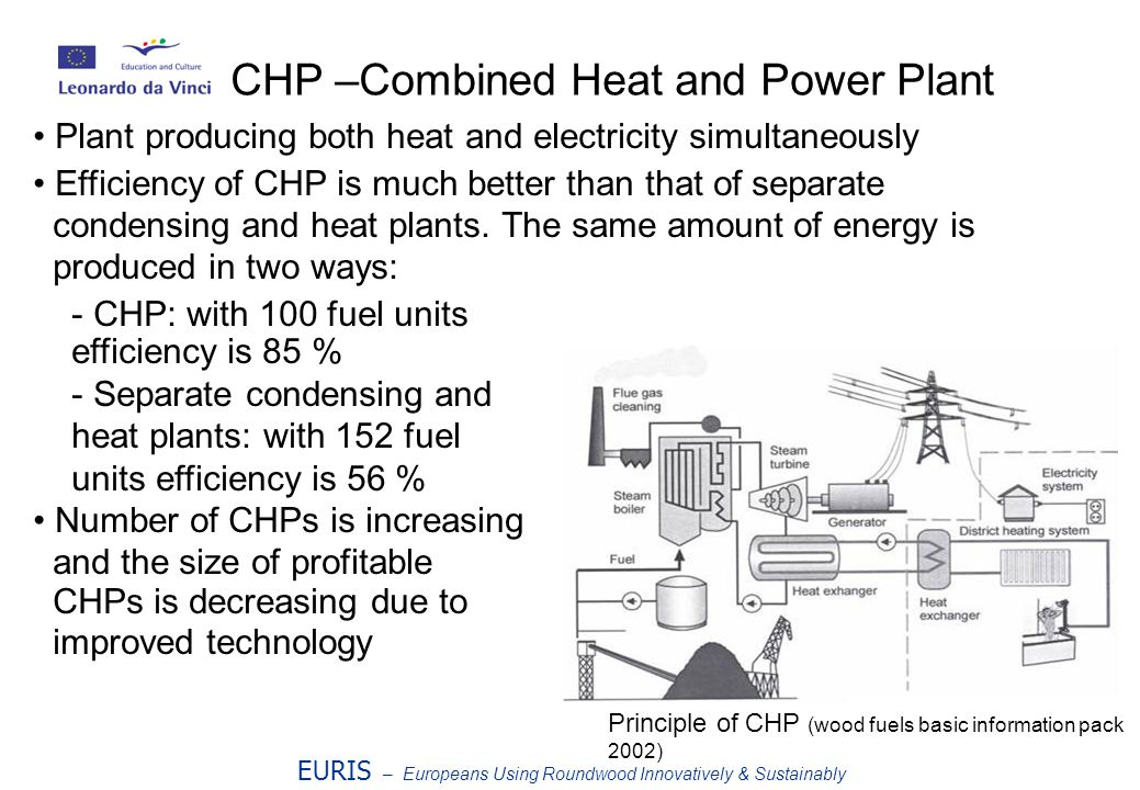 EURIS – Europeans Using Roundwood Innovatively & Sustainably CHP –Combined Heat and Power Plant Plant producing both heat and electricity simultaneously Efficiency of CHP is much better than that of separate condensing and heat plants.
