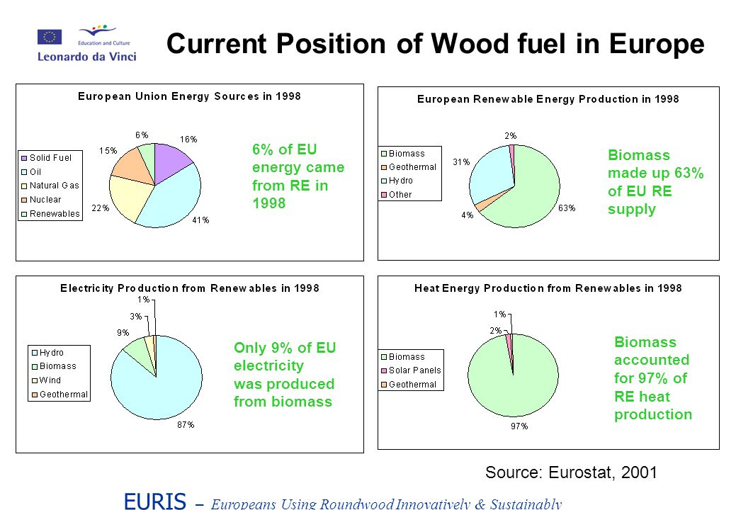 EURIS – Europeans Using Roundwood Innovatively & Sustainably Current Position of Wood fuel in Europe 6% of EU energy came from RE in 1998 Biomass made up 63% of EU RE supply Only 9% of EU electricity was produced from biomass Biomass accounted for 97% of RE heat production Source: Eurostat, 2001