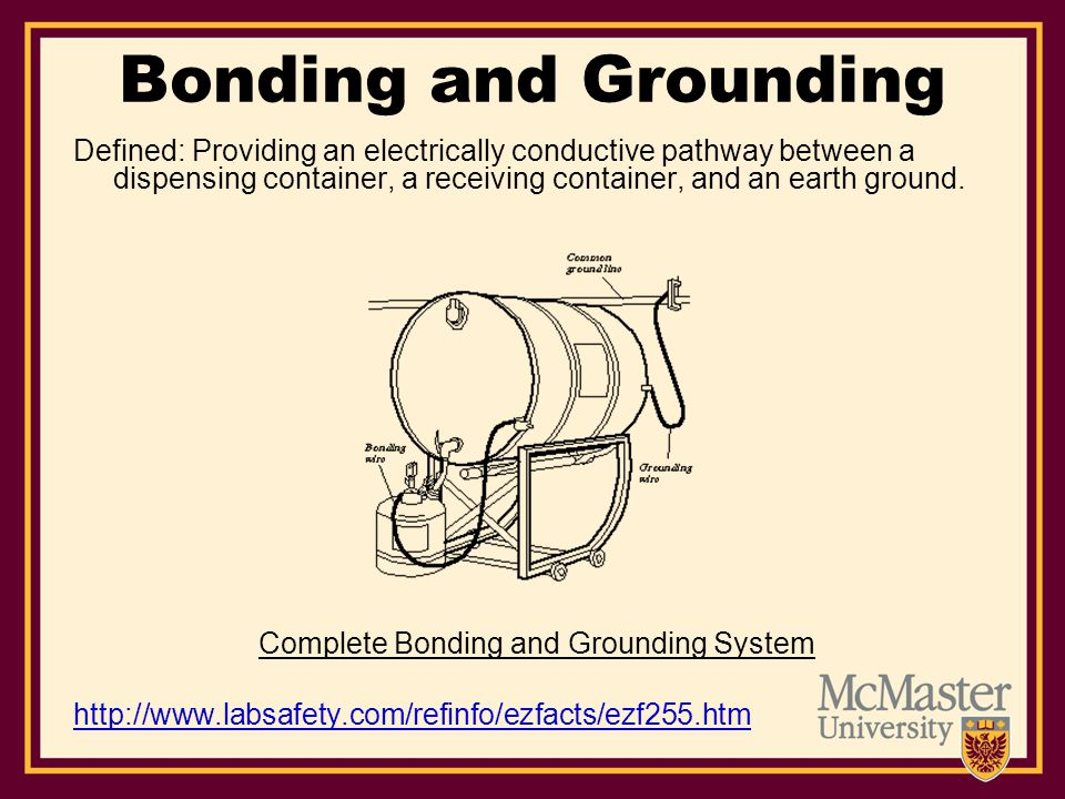 Bonding and Grounding Defined: Providing an electrically conductive pathway between a dispensing container, a receiving container, and an earth ground.