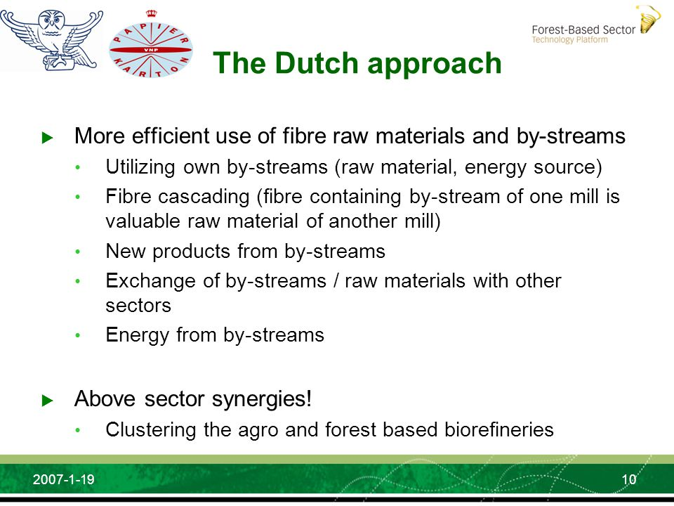 10 2007-1-19 The Dutch approach More efficient use of fibre raw materials and by-streams Utilizing own by-streams (raw material, energy source) Fibre