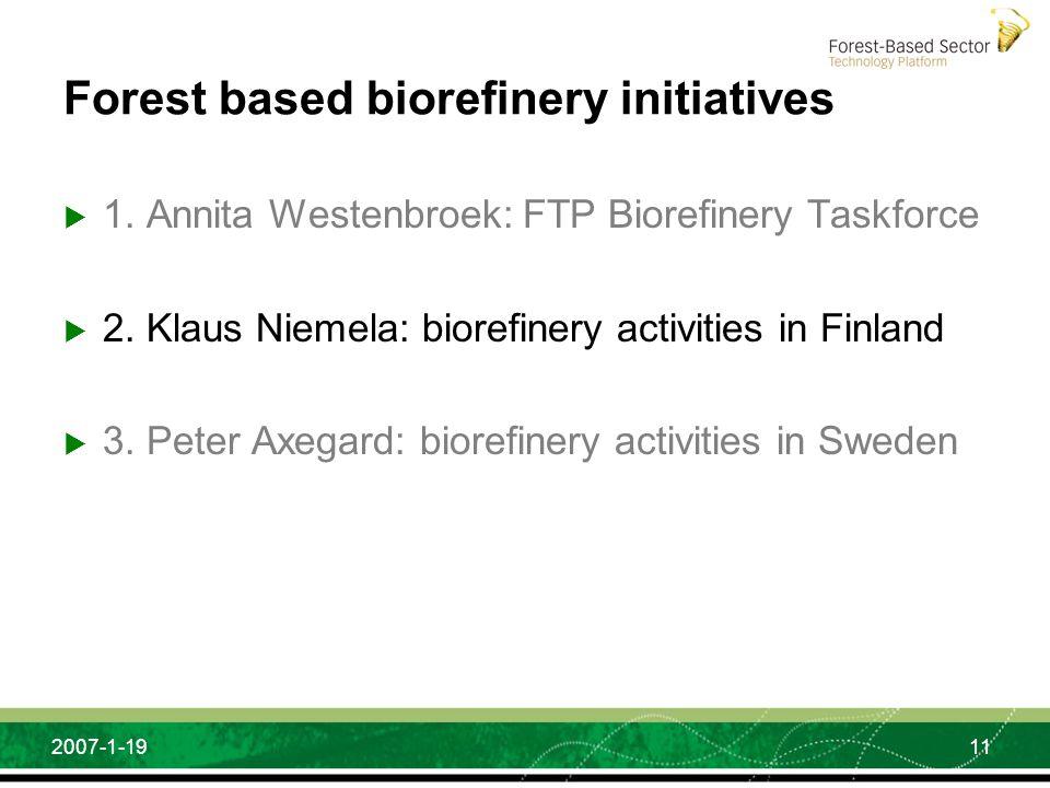 11 2007-1-19 Forest based biorefinery initiatives 1. Annita Westenbroek: FTP Biorefinery Taskforce 2. Klaus Niemela: biorefinery activities in Finland