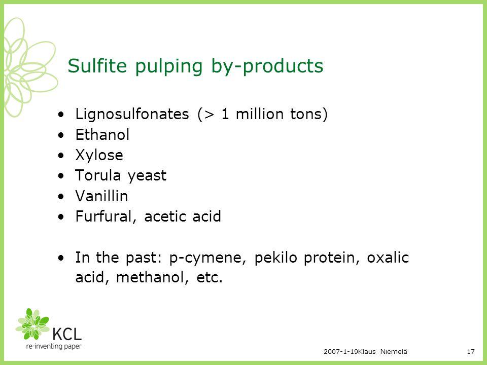 2007-1-19Klaus Niemelä17 Sulfite pulping by-products Lignosulfonates (> 1 million tons) Ethanol Xylose Torula yeast Vanillin Furfural, acetic acid In