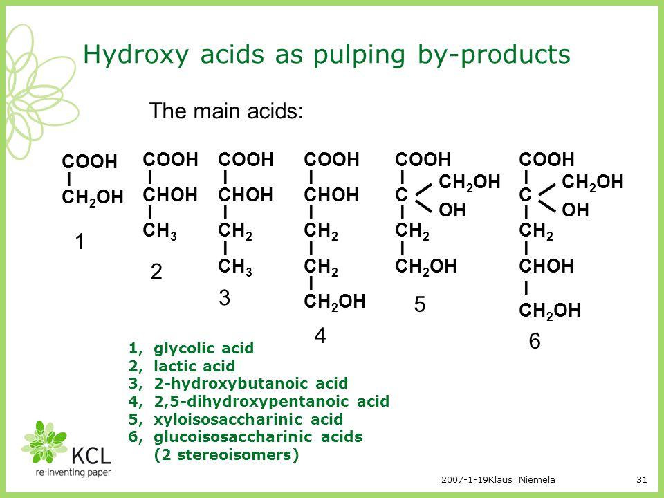 2007-1-19Klaus Niemelä31 Hydroxy acids as pulping by-products COOH l CH 2 OH COOH l CHOH l CH 3 COOH l CHOH l CH 2 l CH 3 COOH l CHOH l CH 2 l CH 2 l