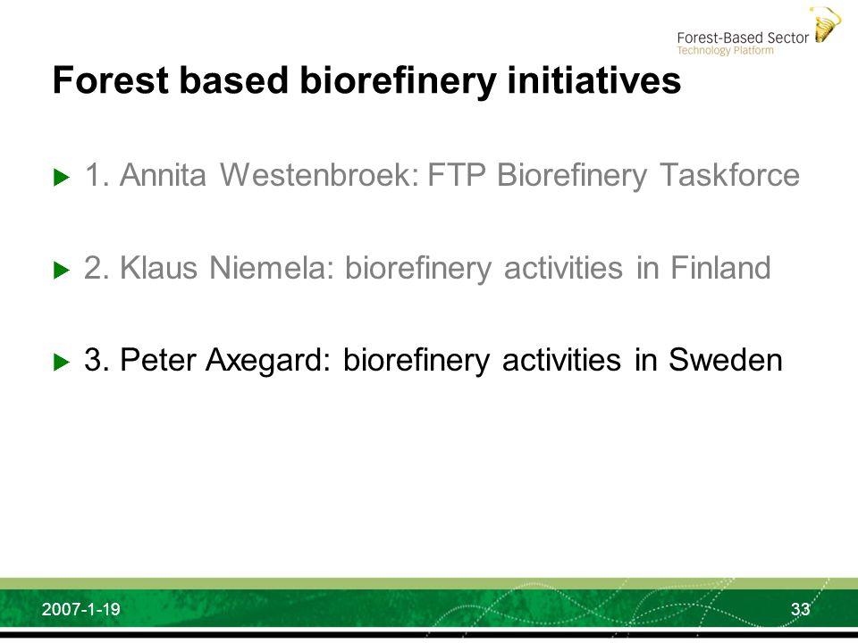 33 2007-1-19 Forest based biorefinery initiatives 1. Annita Westenbroek: FTP Biorefinery Taskforce 2. Klaus Niemela: biorefinery activities in Finland