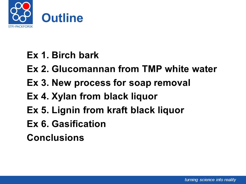 turning science into reality Outline Ex 1. Birch bark Ex 2. Glucomannan from TMP white water Ex 3. New process for soap removal Ex 4. Xylan from black