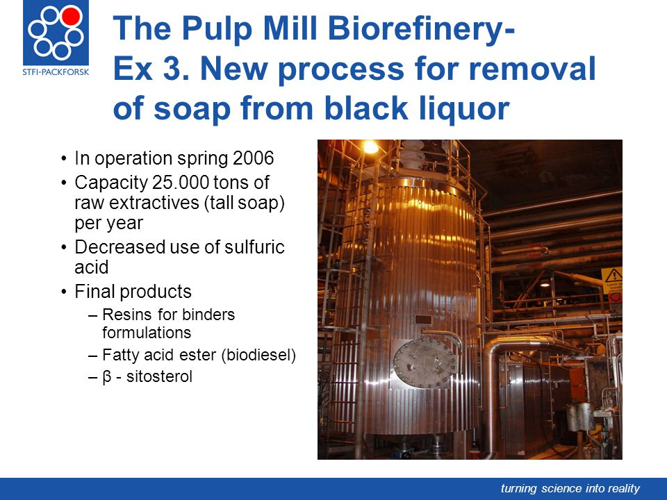 turning science into reality The Pulp Mill Biorefinery- Ex 3. New process for removal of soap from black liquor In operation spring 2006 Capacity 25.0