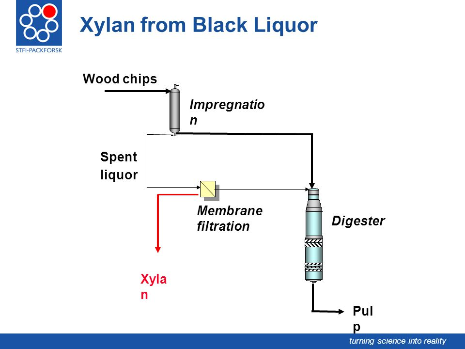turning science into reality Xylan from Black Liquor Digester Pul p Xyla n Spent liquor Impregnatio n Wood chips Membrane filtration