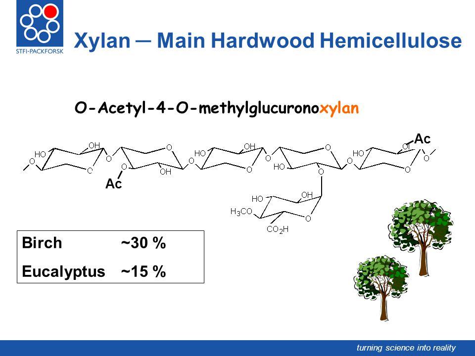 turning science into reality Xylan Main Hardwood Hemicellulose Ac O-Acetyl-4-O-methylglucuronoxylan Birch ~30 % Eucalyptus ~15 %